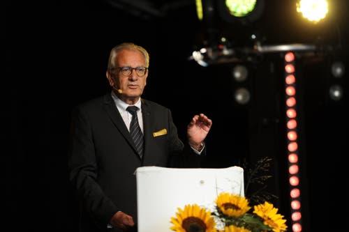 . Co-OK-Präsident René Röthlisberger bei der Eröffnungsfeier. (Bild: Urs Hanhart, Altdrof, 6. September 2018)