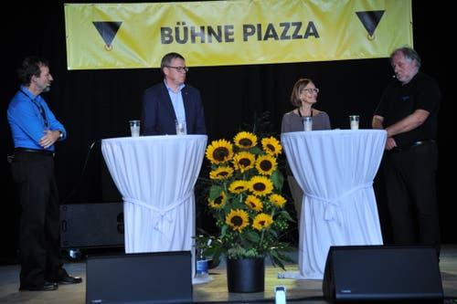 Das Podium der Christlichsozialen mit (von links): Thomas Wallimann, Urban Camenzind, Maria Egli und Erich Megert. (Bild: Urs Hanhart, Altdorf, 7. September 2018)