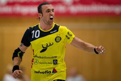 TSV St. Otmar St. Gallens Frederic Wüstner feiert einen Treffer. (Bild: Philipp Schmidli (Kriens, 8. September 2018))