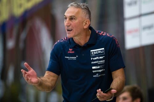 HC Kriens-Luzerns Trainer Goran Perkovac während des Spiels. (Bild: Philipp Schmidli (Kriens, 8. September 2018))