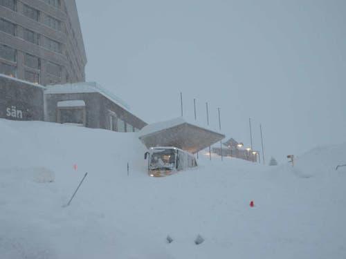 Der Lawinenkegel auf der Schwägalp ist rund 300 Meter breit und mehrere Meter hoch. (Bild: Kapo AR)