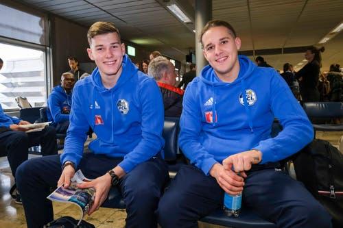 Die FCL-Youngsters Loic Jacot (links) und Stefan Wolf. (Bild: Martin Meienberger, 11. Januar 2019)