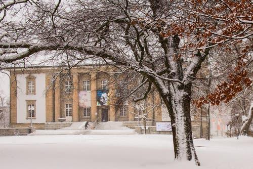 Winterdienst auf der Treppe des Historischen und Völkerkundemuseums. (Leserbild: Franziska Hörler)