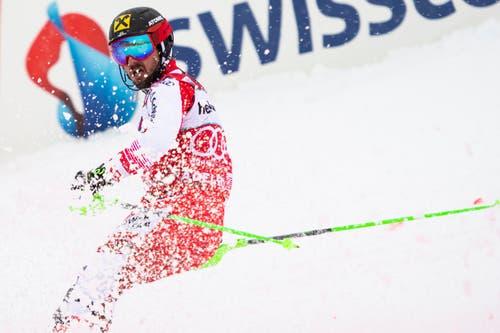 Gegen Marcel Hirscher kam auch im Slalom niemand an. Der Österreicher darf damit seinen neunten Saisonsieg feiern. (Bild: Keystone/Jean-Christophe Bott (13. Januar 2019))
