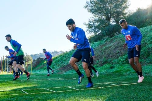 Lazar Cirkovic, Silvan Sidler, Ruben Vargas, Francisco Rodriguez, Tomi Juric (verdeckt) und Lucas Alves. (Bild: Martin Meienberger (13. Januar 2019))