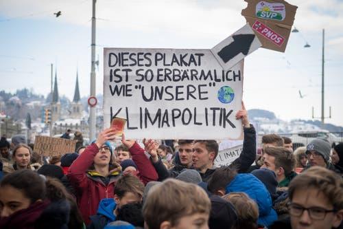 Sie sind mit der Klimapolitik nicht zufrieden. (Bild: Boris Bürgisser/LZ (Luzern, 18. Januar 2019))