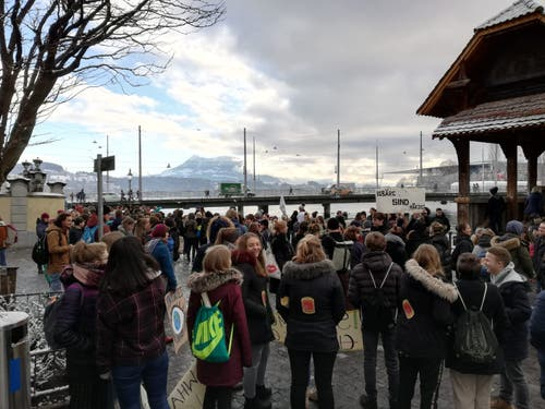 Die Schüler versammelten sich bei der Kapellbrücke. (Bild: Sandra Peter/LZ (Luzern, 18. Januar 2019))