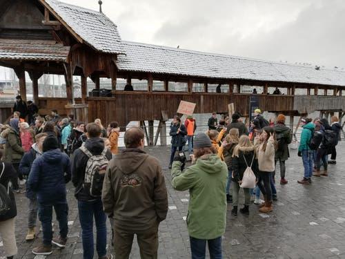 Mehrere hundert Schüler trafen sich dort zum Streik. (Bild: Sandra Peter/LZ (Luzern, 18. Januar 2019))