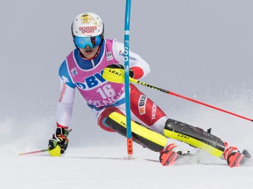Loïc Meillard verbesserte sich im zweiten Lauf vom 18. in den 11. Rang und war damit zweitbester Schweizer (Bild: KEYSTONE/ANTHONY ANEX)