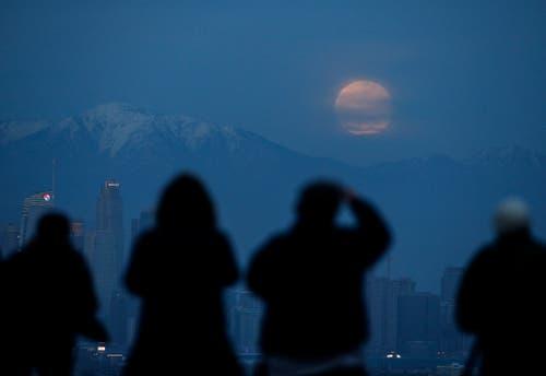 Schaulustige beobachten die totale Mondfinsternis im Kenneth Hahn Park. (Bild: Ringo H.W. Chiu/AP Photo (Los Angeles, 20.Januar 2019))