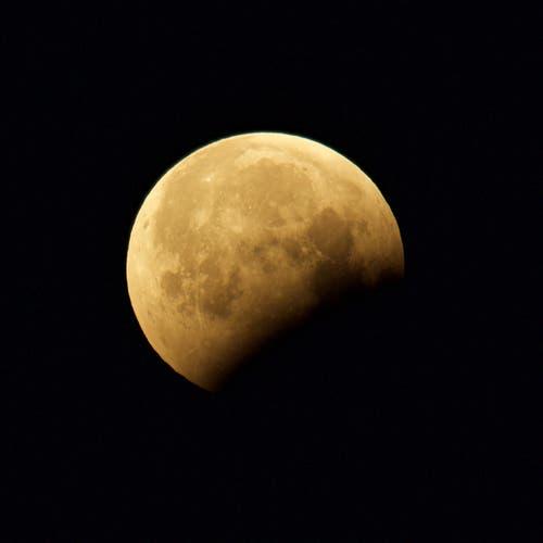 Der Mond mit Erdschatten bei Trogen. (Bild: Hans Aeschlimann (Trogen, 21. Januar 2019))