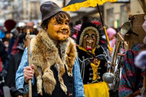 Die Masken zeigen von verschmitzt bis erstaunt alle möglichen Gesichtsausdrücke. (Bild: Manuela Jans-Koch, Kriens, 26. Januar 2019)