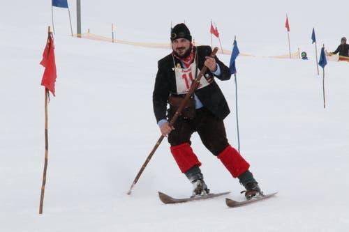 Marc Graf aus Sedrun startete beim Nostalgie-Rennen in der Kategorie «Kronjuwelen Zeit». (Bild: Remo Infanger (Andermatt, 26. Januar 2019))