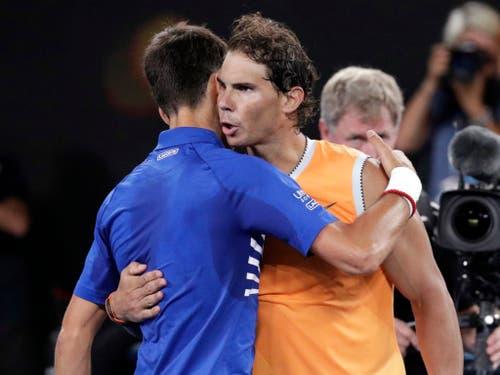 Novak Djokovic und Rafael Nadal bestritten den achten Grand-Slam-Final gegeneinander (Bild: KEYSTONE/AP/AARON FAVILA)