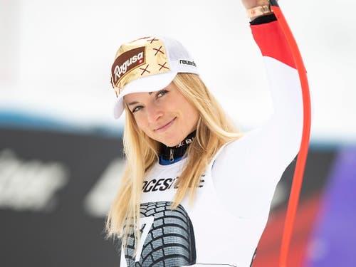 Nach dem 3. Platz von Garmisch blickt Lara Gut-Behrami wieder etwas optimistischer in Richtung WM (Bild: KEYSTONE/EPA/PHILIPP GUELLAND)