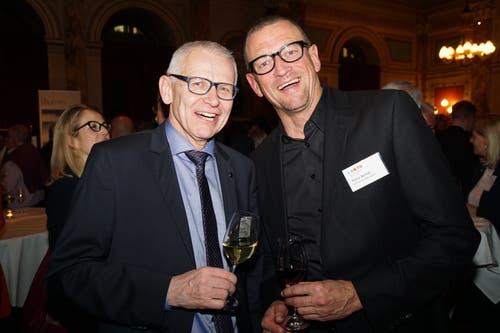 Luzerner CVP-Nationalrat Leo Müller mit Elmar Bernet (Artmax Brandsupport). (Bild: PD)