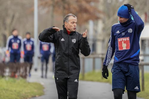 02.01.2019; Luzern; FUSSBALL SUPER LEAGUE - Training FC Luzern; Assistenztrainer Thomas Binggeli (Luzern) Marvin Schulz (Luzern) (Andy Mueller/freshfocus)