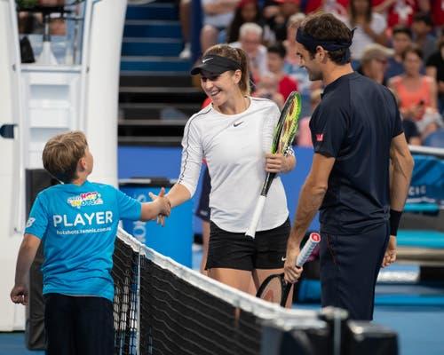 Scheint sich auf das Mixed-Doppel zu freuen: Belinda Bencic. (Bild: Jürgen Hasenkopf/freshfocus (Perth, 5. Januar 2019))