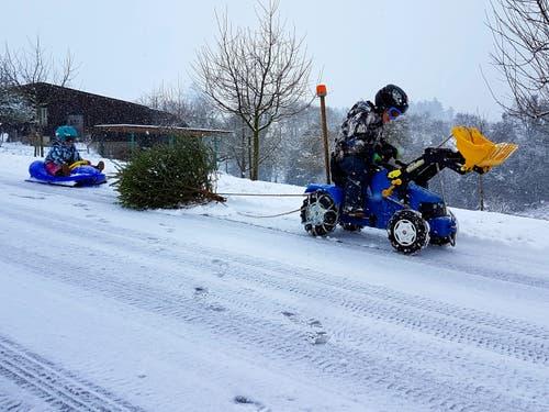Unsere Kids geniessen den Schnee so richtig und helfen gerade bei der Entsorgung des Weihnachtsbaums. (Bild: Adiran Mattli (Zell, 5. Januar 2019))