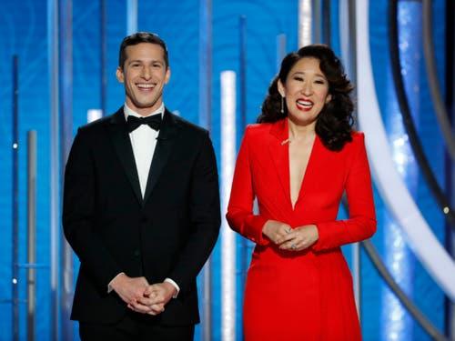 Andy Samberg und Sandra Oh führten am durch die Preisverleihung der Golden Globe. (Bild: KEYSTONE/AP NBC/PAUL DRINKWATER)