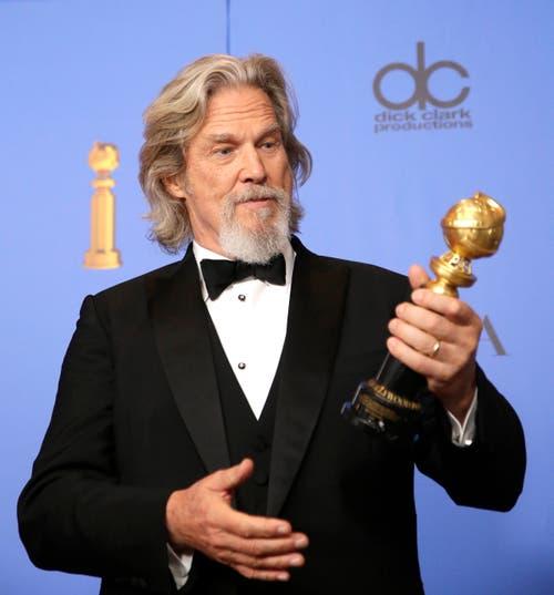 Jeff Bridges mit dem Cecil B. DeMille Award. (Bild: Mike Nelson/EPA (Los Angeles, 6. Januar 2018))