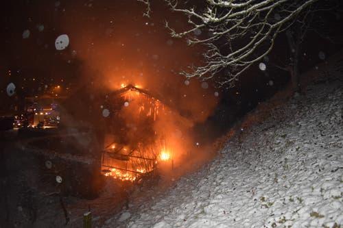 Kriens - 5. JanuarIm Krienser Ortsteil Obernau ist ein Treibhaus niedergebrannt. Eine angrenzende Scheune wurde teilweise durch das Feuer beschädigt. Der Brand ist wegen einem technischen Defekt ausgebrochen. Verletzt wurde niemand. (Bild: Luzerner Polizei)