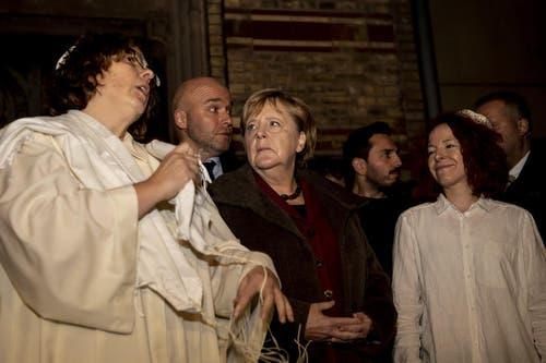 Die Kanzlerin Angela Merkel besuchte am Mittwochabend in Berlin eine Veranstaltung der Neuen Synagoge. (Bild: Keystone/ Christoph Soeder, 9. Oktober 2019)
