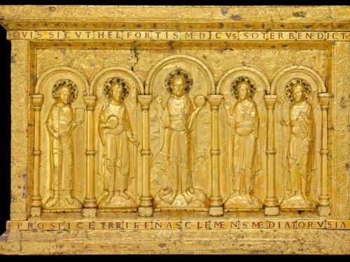 Höhepunkt der Ausstellung «Gold & Ruhm - Geschenke für die Ewigkeit» ist die tausendjährige goldene Basler Altartafel, die jetzt zur Sammlung des Musée de Cluny in Paris gehört. (Bild: Musée de Cluny - Musée national du Moyen Âge, Paris)