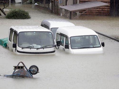 In der Küstenstadt Ise im Zentrum Japans standen die Strassen unter Wasser. (Bild: KEYSTONE/AP Kyodo News)