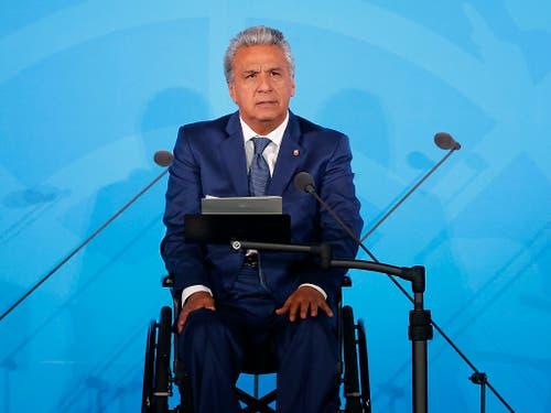 Ecuadors Staatschef Moreno bestätigte seine Bereitschaft zum Dialog. Gleichzeitig hielt er die am Samstag verkündete Ausgangssperre in Quito «bis auf Weitere» aufrecht. (Bild: KEYSTONE/FR103966 AP/JASON DECROW)
