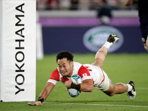 Kenki Fukuoka war im entscheidenden Gruppenspiel gegen Schottland der «Man of the match» und erzielte zwei Tries (Bild: KEYSTONE/AP/JAE HONG)