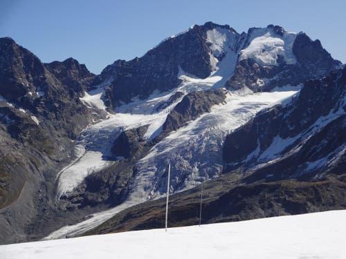 Massenbilanz-Pegel vor dem Vadret da Tschierva und dem Piz Bernina. (Bild: M. Huss)