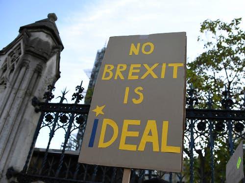 Sowohl im britischen Parlament als auch davor gibt es Widerstand gegen den Brexit. (Bild: KEYSTONE/AP/ALBERTO PEZZALI)