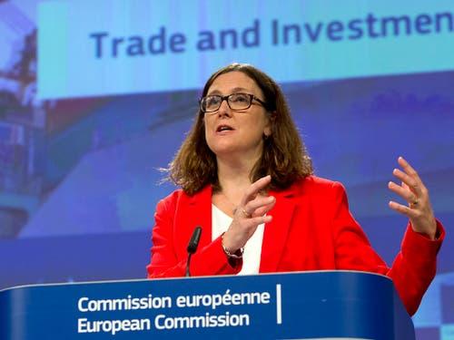 EU-Handelskommissarin Cecilia Malmström hat am Mittwoch nach dem WTO-Urteil die geplanten Gegenmassnahmen der USA kritisiert. (Bild: KEYSTONE/AP/VIRGINIA MAYO)