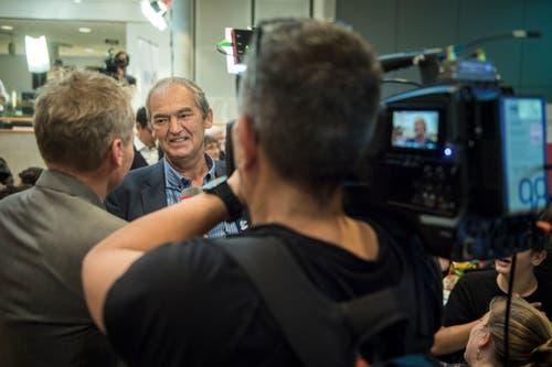 Kurt Egger, neu gewählter Nationalrat der Grünen Thurgau, steht den Medien Red und Antwort. (Bild: Reto Martin)