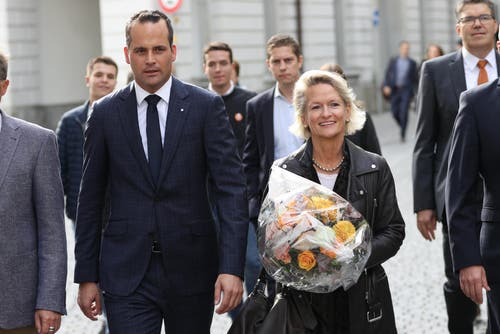 Damian Müller (FDP) wurde im ersten Wahlgang gewählt, Andrea Gmür (CVP) verpasste das absolute Mehr. (Bild: Philipp Schmidli, Luzern, 20. Oktober 2019)