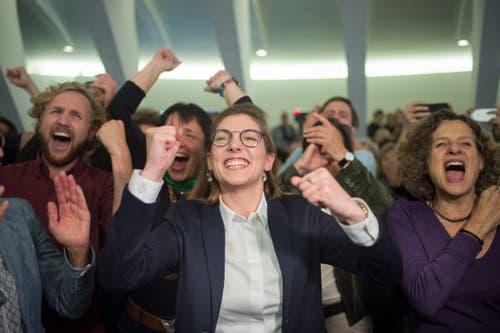 Franziska Ryser (Grüne) freut sich über ihre Wahl in den Nationalrat. (Bild: Benjamin Manser)