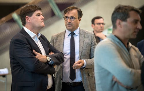 Abgewählt: Der freisinnige Nationalrat Hansjörg Brunner (links) mit FDP-Kantonalpräsident David H. Bon. (Bild: Reto Martin)