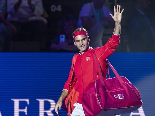 Welcome Home: Federer strebt an den Swiss Indoors seinen zehnten Heimtitel an (Bild: KEYSTONE/GEORGIOS KEFALAS)