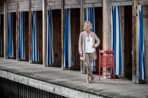 Andrea Gmür beim Kandidatenporträt im Seebad Luzern (Bild: Pius Amrein, Luzern, 20. September 2019)