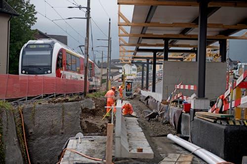 Die neue S-Bahn-Haltestelle Hergiswil Matt. (Bild: Corinne Glanzmann, Hergiswil, 23. Oktober 2019)