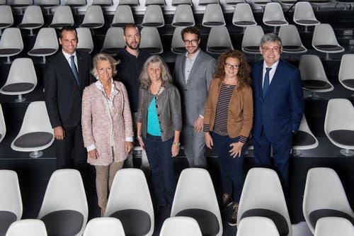 Die Ständeratskandidaten bei der LZ-Podiumsdiskussion, Andrea Gmür steht unten links. (Bild: Eveline Beerkircher, Luzern, 2. Oktober 2019)