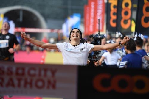 Die Luzernerin Franziska Inauen ist Siegerin des Swiss City Marathon. (Bild: Corinne Glanzmann, Luzern 27. Oktober 2019)