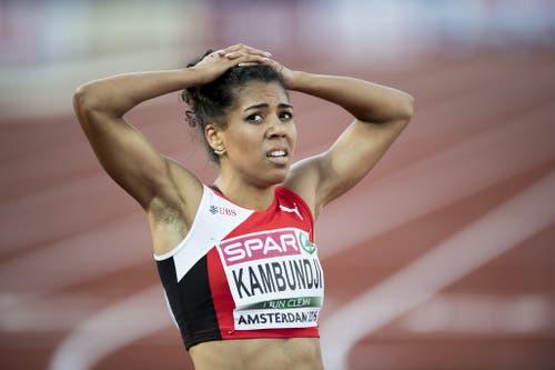 2016: Europameisterschaften AmsterdamGrosser Frust bei Mujinga Kambundji. Über 200 Meter schafft es die Bernerin nicht in den Final und klassiert sich am Ende auf dem elften Rang. (Bild: Keystone)