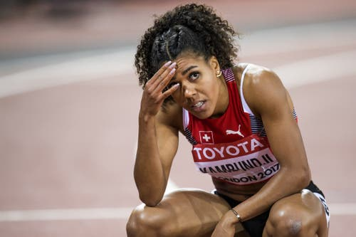 2017: Weltmeisterschaften LondonZweimal Platz 10 für Mujinga Kambundji. Schon da ist sie im Hundertstel-Pech. Die beiden Finals verpasst sie lediglich um vier respektive fünf Hundertstel-Sekunden. (Bild: Keystone)
