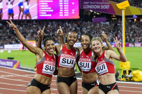 2017: Weltmeisterschaften LondonImmerhin darf Mujinga Kambundji mit der Leistung im Staffelrennen zufrieden sein. Die vier Schweizerinnen sprinten über 4x100 Meter auf den fünften Rang und freuen sich zurecht. (Bild: Keystone)