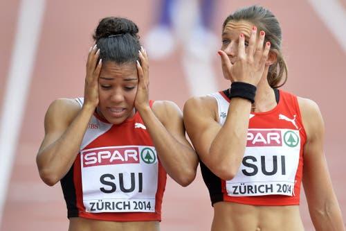 2014: Europameisterschaften ZürichUmso grösser ist die Enttäuschung dann zum Abschluss der EM, als Mujinga Kambundji mit der Staffel im Final steht. Ihr unterläuft beim Start aber ein seltenes Missgeschick: Sie verliert beim zweiten Schritt den Stab, die Schweiz ist aus dem Rennen. Die Bernerin kann es nicht fassen. (Bild: Keystone)
