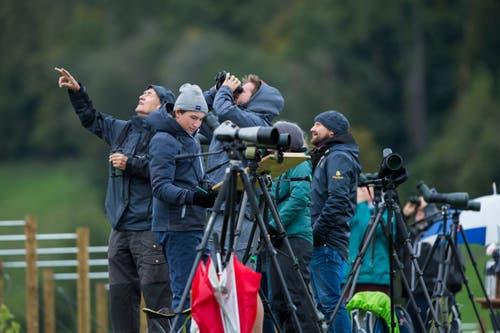 Die Teilnehmer zählen die Vögel, die in Richtung Süden unterwegs sind. (Bild: Dominik Wunderli, Kriens, 5. Oktober 2019)