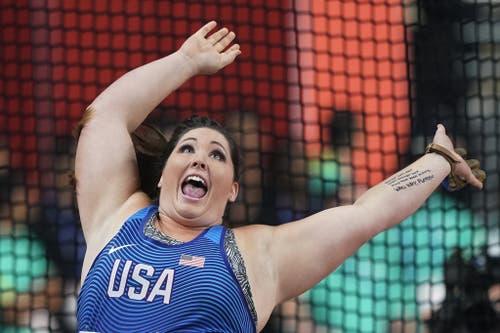 Jubel schon vor dem Ergebnis: DeAnna Price hat ein gutes Gefühl nach ihrem Hammerwurf. Sie wird später Weltmeisterin sein: (Bild: Keystone)