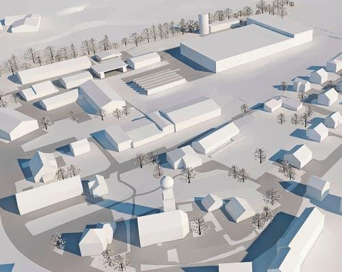 Oben rechts im Modell: So oder ähnlich könnte der Neubau werden. (Bild: PD)